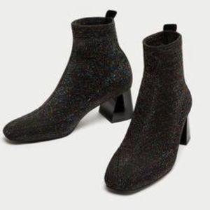Zara multicolor glitter sock boots